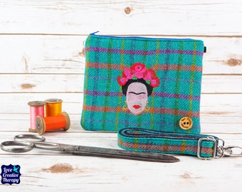 Greta - Teal Harris Tweed with overchecks of blue, pink, orange, green and yellow Cross Body/ Clutch Bag with Embroidered Frida Kahlo