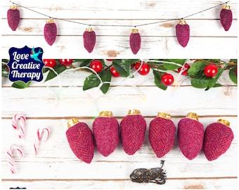 Raspberry herringbone and plain Harris Tweed Fairy 'Lights' Garland