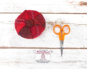 Red Tartan Harris Tweed Pin Cushion