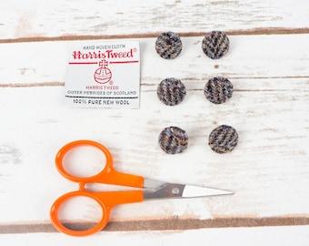 Grey Herringbone Harris Tweed Covered Buttons - 15mm
