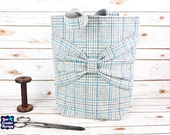 Esme - Blue Check Large Harris Tweed Tote Bag