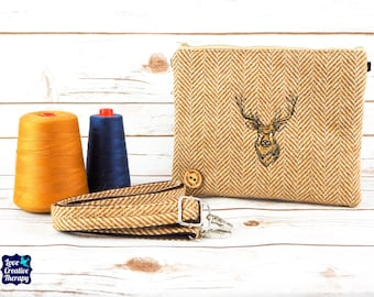 Greta - Gold Herringbone Donegal Tweed Cross Body/ Clutch Bag with Embroidered Stag