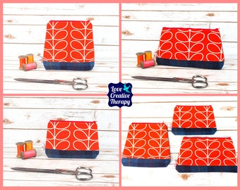 Zipped Pouches: Orla Kiely Red Stem Cotton and Harris Tweed - Choose Size!