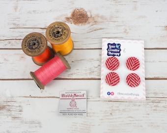 Red & Pink Herringbone Harris Tweed Covered Buttons - 23mm