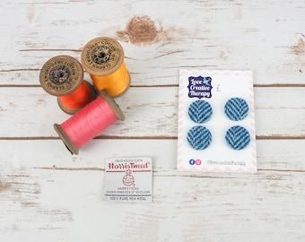 Blue & White Herringbone Harris Tweed Covered Buttons - 23mm