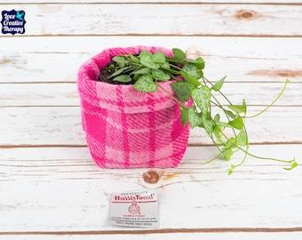 Small Fabric Pot in Pink Tartan Harris Tweed
