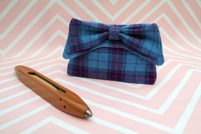 b6c21b87e4b5 Katharine - Blue Purple Tartan Harris Tweed Clutch Bag - evening purse - bow  - formal - handmade