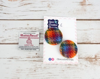 Rainbow Check Harris Tweed Covered Buttons - 37mm