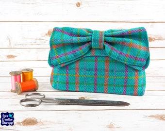 Katharine - Teal Harris Tweed with pink orange and blue overcheck Clutch Bag