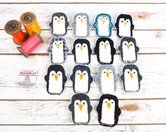 Penguins with yellow beak - Harris Tweed pin brooch - Choose from Variety!