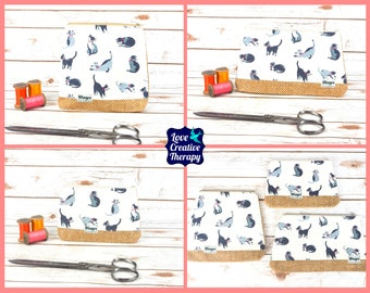 Zipped Pouches: Cath Kidston Cats Cotton and Donegal Tweed - Choose Size!