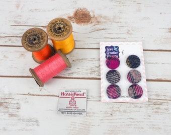 Navy, Grey & Pink Tartan Harris Tweed Covered Buttons - 23mm