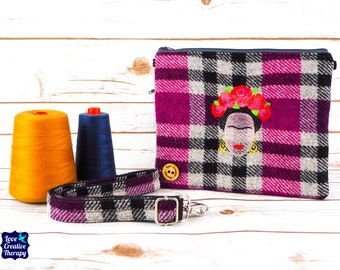 Greta - Pink Black and Grey Harris Tweed Cross Body/ Clutch Bag with Embroidered Frida Kahlo