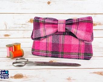 Katharine - Pink & Navy Tartan Harris Tweed Clutch Bag
