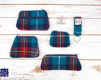 Teal Tartan Harris Tweed Accessories - Coin Purse, Pen/ Glasses Case, Keyring