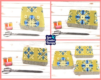Zipped Pouches: Vintage Cotton and Harris Tweed - Choose Size!