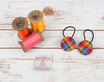 Rainbow Tartan Harris Tweed Button Hair Bobbles