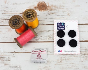 Black Twill Harris Tweed Covered Buttons - 23mm