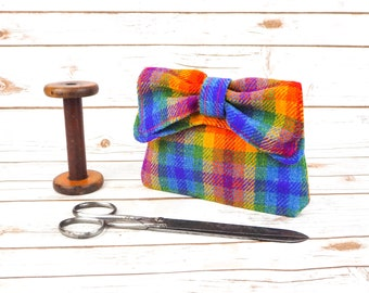 Audrey - Rainbow Check Harris Tweed Evening Purse