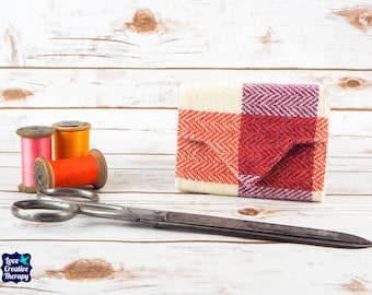 Pink, Orange and Cream Block Check Harris Tweed Small Ladies Wallet with Coin Section