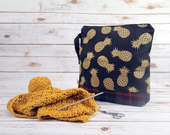 Gold Pineapple Project bag with Harris Tweed base