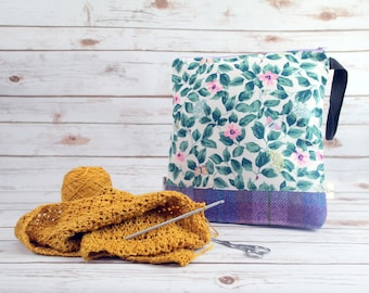 Cath Kidston Floral Print Project bag with Harris Tweed base