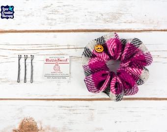 Pink, Grey & Black Tartan Harris Tweed Hair Scrunchie Bobbles