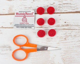 Red Twill Harris Tweed Covered Buttons - 15mm