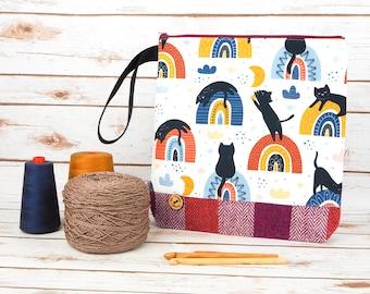 Rainbow Kitties Print Project bag with Harris Tweed base