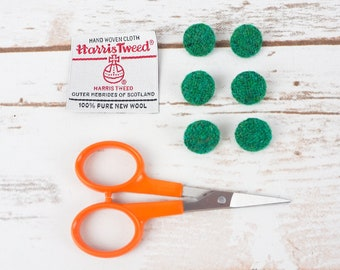 Green Twill Harris Tweed Covered Buttons - 15mm