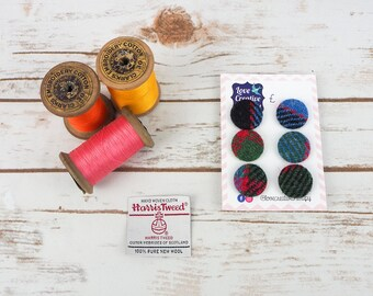 Red, Green & Black Tartan Harris Tweed Covered Buttons - 23mm