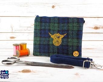 Greta - Blackwatch Tartan Harris Tweed Cross Body/ Clutch Bag with Embroidered Highland Cow