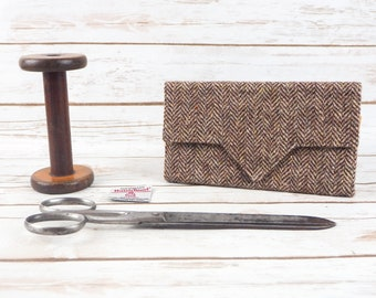 Brown Herringbone Harris Tweed Ladies Wallet with Coin Section