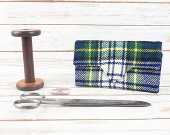 Blue, Green & White Tartan Harris Tweed Wallet with Coin Section