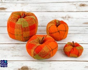 Plush Harris Tweed Pumpkins - Orange Tartan