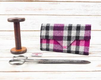 Pink, Black & Grey Tartan Harris Tweed Wallet with Coin Section