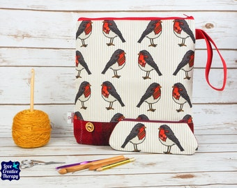 Robin Craft bag with Harris Tweed base & pencil case gift set