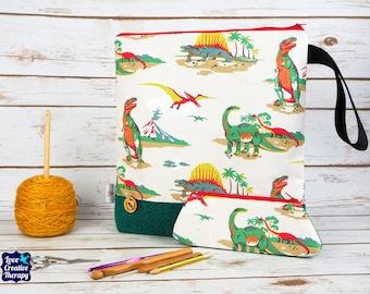 Dinosaurs Craft bag with Harris Tweed base & pencil case gift set