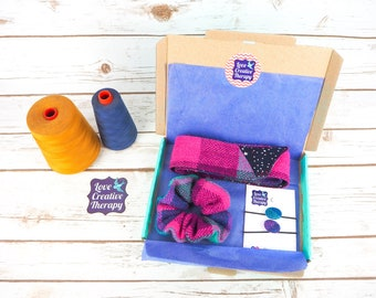 Pink, Purple & Teal Tartan Harris Tweed Hair Accessories Gift Box - Head Band Scarf, Scrunchie and Bobbles