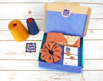 Orange Herringbone Harris Tweed Hair Accessories Gift Box - Head Band Scarf, Scrunchie and Bobbles