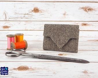 Black & Beige Herringbone Donegal Irish Tweed Small Ladies Wallet with Coin Section