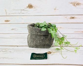Small Fabric Pot in Black & Beige Herringbone Irish Donegal Tweed