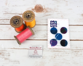 Pink, Blue & Black Harris Tweed Covered Buttons - 23mm