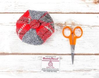 Grey & Red Tartan Harris Tweed Pin Cushion
