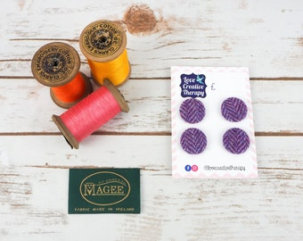 Purple Herringbone Donegal Tweed Covered Buttons - 23mm