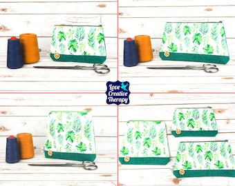 Zipped Pouches: Monstera & Fern Leaves Cotton and Harris Tweed - Choose Size!