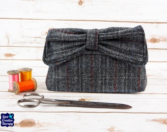 Katharine - Grey Overcheck Harris Tweed Clutch Bag