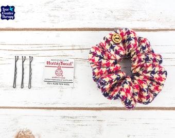 Navy, Pink, Yellow & White Houndstooth Harris Tweed Hair Scrunchie Bobbles