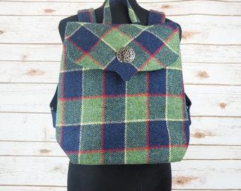 Beulah - Green & Blue Tartan Harris Tweed Backpack