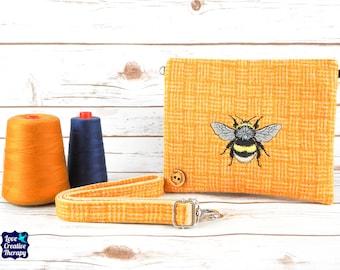 Greta - Yellow Basketweave Harris Tweed Cross Body/ Clutch Bag with Embroidered Bee